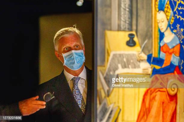 King Philippe of Belgium attends the official opening of the new museum of the Royal Library of Belgium, on September 17, 2020 in Brussels, Belgium....