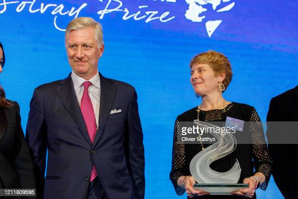 King Philippe of Belgium awards the Chemistry for the Future Solvay Prize to professor Carolyn Bertozzi at the Palace of the Academies on March 10...