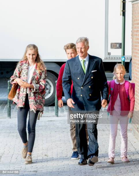 King Philippe of Belgium bring his children Princess Elisabeth of Belgium Prince Gabriel of Belgium and Princess Eleonore of Belgium to school at the...