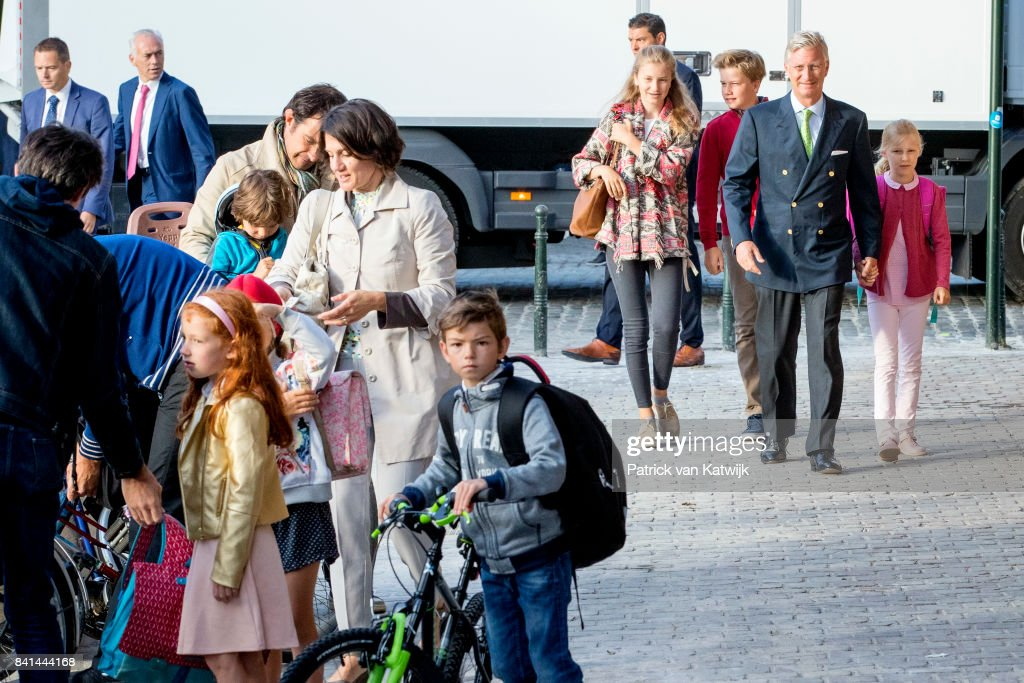 King Philippe of Belgium bring his children Princess Elisabeth of Belgium, Prince Gabriel of Belgium and Princess Eleonore of Belgium to school at the Sint-Jan-Berchmanscollege after the summer vacation on September 1, 2017 in Brussels, Belgium.