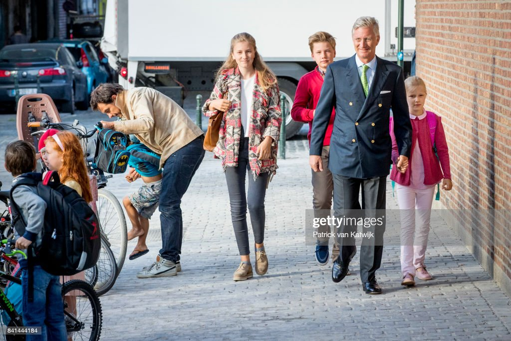 First Day Of School For Belgium Royal Family Children In Brussels : News Photo