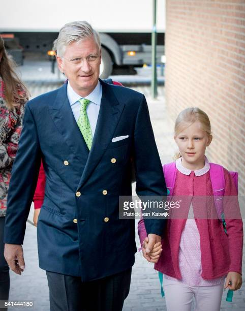 King Philippe of Belgium bring his daughter Princess Eleonore of Belgium to school at the SintJanBerchmanscollege after the summer vacation on...
