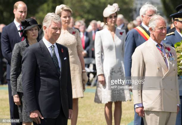 King Philippe of Belgium Britain's Prince Charles British Prime Minister Theresa May Britain's Prince William Queen Mathilde of Belgium and Princess...