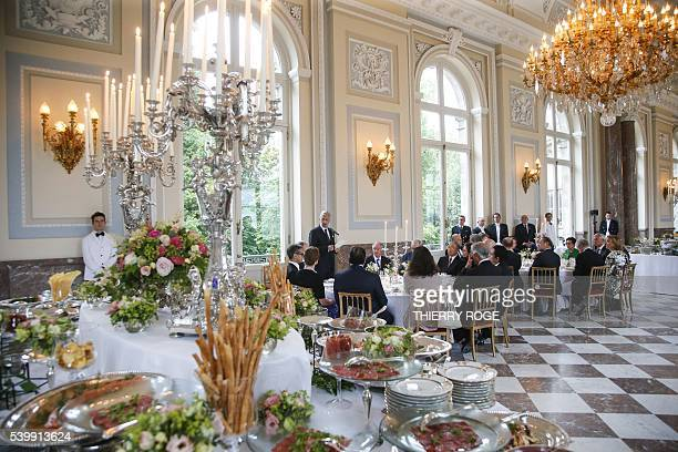 King Philippe of Belgium delivers a speech during a royal reception for the participants of the 'Brussels-Asia Society Dialogue' at the Royal Castle...