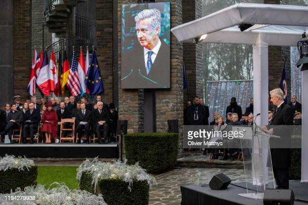 King Philippe of Belgium delivers a speech during the 75th Battle of the Bulge anniversary remembrance ceremony on December 16, 2019 in Bastogne,...