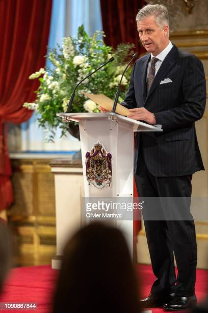 King Philippe of Belgium delivers a speech during the reception of principal authorities of the country at the Royal Palace on January 29 2019 in...