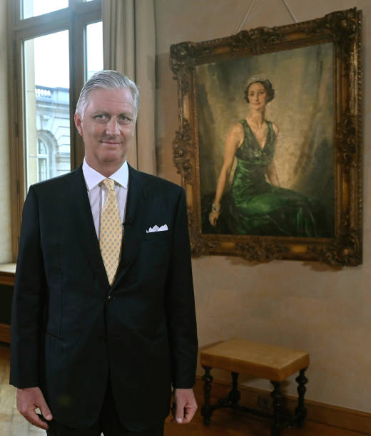 BEL: King Philippe of Belgium Delivers A Speech For Belgium's National Day At The Royal Palace