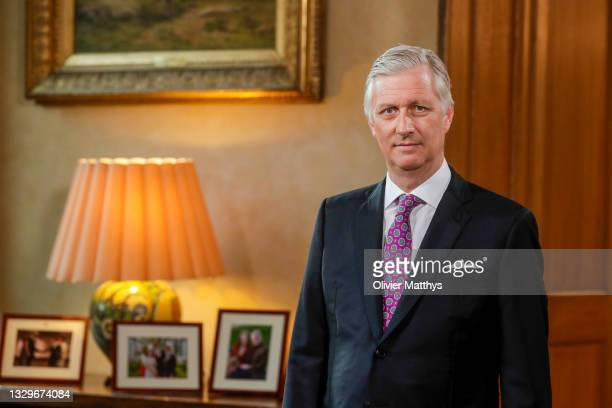 King Philippe of Belgium delivers a speech to the nation of the eve of Belgium's National Day on July 20, during the recording at the Royal Palace on...
