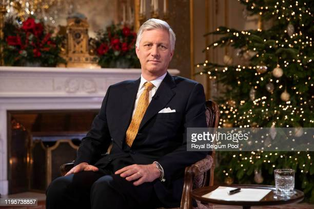 King Philippe of Belgium delivers his Christmas Message to the Nation on December 18 2019 in Brussels Belgium