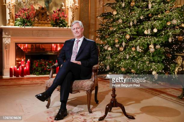 King Philippe of Belgium delivers his Christmas Speech in his office at the Royal Laeken Castle on December 24, 2020 in Brussels, Belgium.