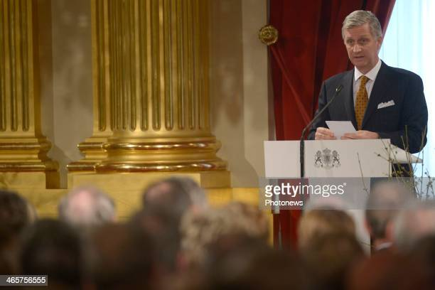 King Philippe of Belgium delivers the Royal Family New Year wishes during a ceremony held at Brussels' Palace on January 29 2014 in Brussels Belgium