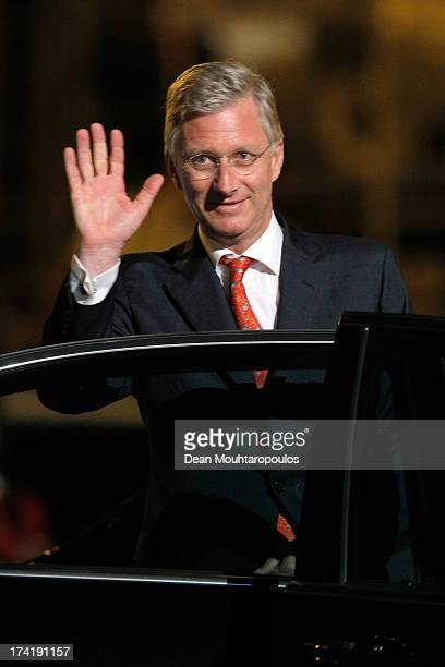 King Philippe of Belgium departs after the fireworks during the Abdication Of King Albert II Of Belgium, & Inauguration Of King Philippe on July 21,...