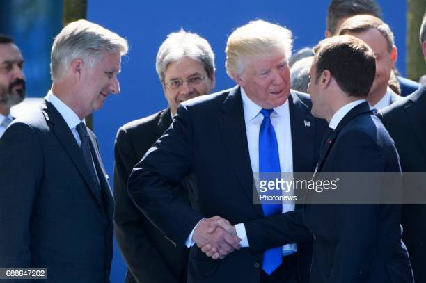 King Philippe of Belgium Donald Trump and Emmanuel Macron during the North Atlantic Treaty Organisation summit in Brussels