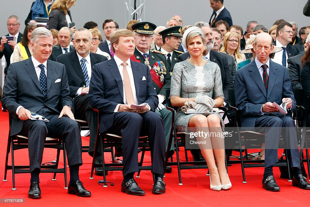 King Philippe of Belgium, Dutch King Willem-Alexander, Queen Maxima of the Netherlands and Prince Edward, Duke of Kent attend the Belgian federal government ceremony to commemorate the bicentenary of the Battle of Waterloo on June 18, 2015 in Waterloo, Belgium. The ceremony is at the start of three days of official events marking the 200th anniversary of the Battle of Waterloo during which around 5000 historical re-enactors from around the world will take part in events culminating in a re-enactment of the allied defeat of Napoleon's army on June 20th. The 1815 battle saw the overthrow of Napoleon Bonaparte and the restoration of Louis XVIII to the French throne.