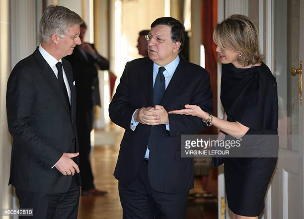 King Philippe of Belgium Former European Commission president Jose Manuel Barroso and Queen Mathilde of Belgium pose for a picture in the...