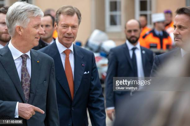 King Philippe of Belgium Grand Duke Henri of Luxembourg and Prime Minister of Luxembourg Xavier Bettel visit the Space Symposium at the Neumuenster...