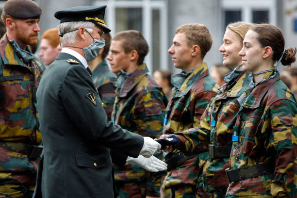 BEL: King Philippe Of Belgium And Queen Mathilde Attend The Blue Beret Parade At the Royal Military Academy In Brussels