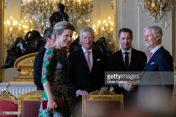 King Philippe of Belgium Interior Minister Pieter De Crem VicePrime Minister Alexander De Croo and Queen Mathilde welcome the Heads of Foreign...