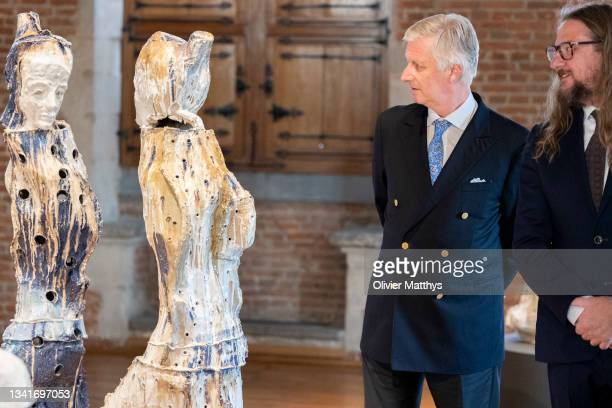 King Philippe of Belgium is guided through the Tahon Universus exhibition by sculptor Johan Tahon in the MOU Museum on September 21, 2021 in...