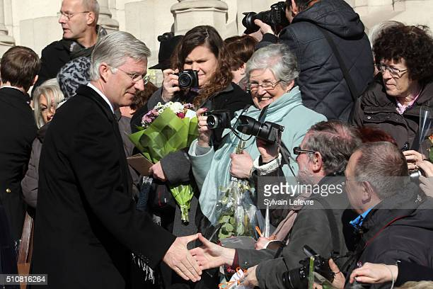 King Philippe of Belgium is pictured as he leaves a mass at Notre Dame Church in Laeken on February 17, 2016 in Laeken, Belgium.