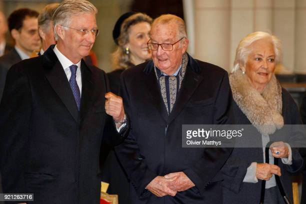 King Philippe of Belgium King Albert II of Belgium and Queen Paola of Belgium attend a mass commemoration at Our Lady Church on February 20 2018 in...