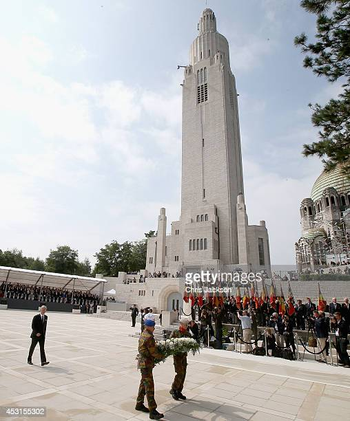 King Philippe of Belgium lays a wreath as he takes part in a WW1 100 Years Commomoration Ceremony at Le Memorial Interallie on August 4 2014 in Liege...