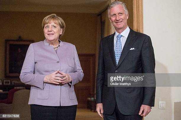 King Philippe of Belgium meets German Chancellor Angela Merkel on January 12 2017 in Brussels Belgium