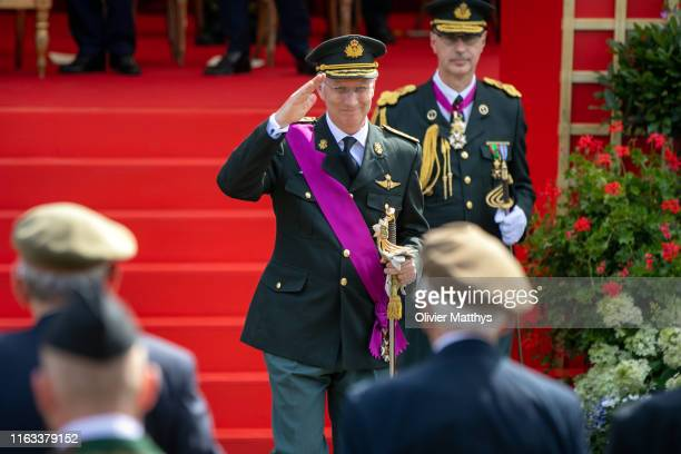 King Philippe of Belgium meets with D-Day veterans attending the military parade during the National Day of Belgium 2019 on July 21, 2019 in...