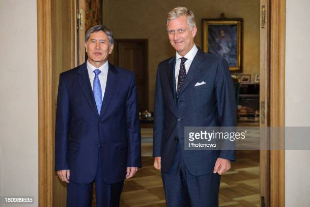 King Philippe of Belgium meets with President Almazbek Atambayev of Kyrgyzstan on September 18 2013 in Brussels Belgium