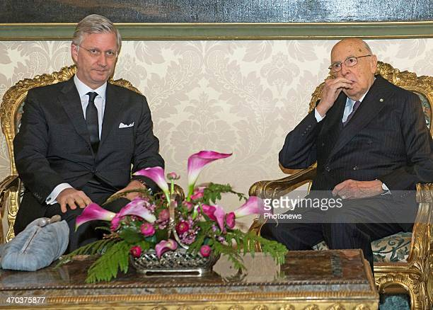 King Philippe of Belgium meets with President Giorgio Napolitano on February 19 2014 in Rome Italy King Philippe and Queen Mathilde of Belgium are on...