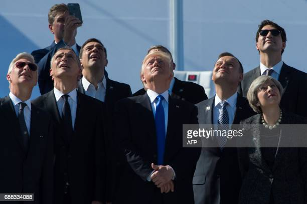 TOPSHOT King Philippe of Belgium NATO Secretary General Jens Stoltenberg Greek Prime Minister Alexis Tsipras US President Donald Trump Poland's...