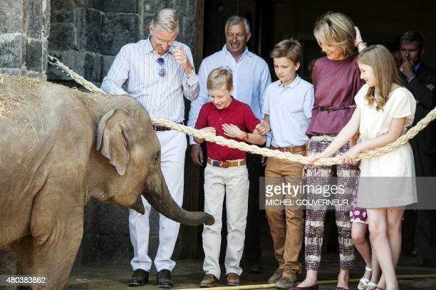 King Philippe of Belgium Pairi Daiza director Eric Domb Prince Emmanuel Prince Gabriel Queen Mathilde of Belgium and Crown Princess Elisabeth look at...