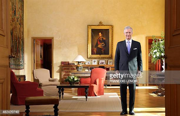 King Philippe of Belgium poses during the recording of his annual television and radio speech to mark Belgian National day celebrated on July 21 at...