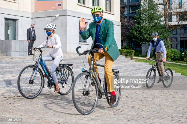 King Philippe of Belgium, Prince Gabriel of Belgium and Princess Eleonore of Belgium together with a friend of Prince Gabriel visit the house of...