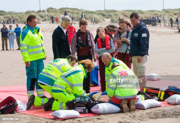 King Philippe of Belgium Prince Gabriel Prince Emmanuel and Crown Princess Elisabeth attend a rescue practice during a visit of the Belgian royal...