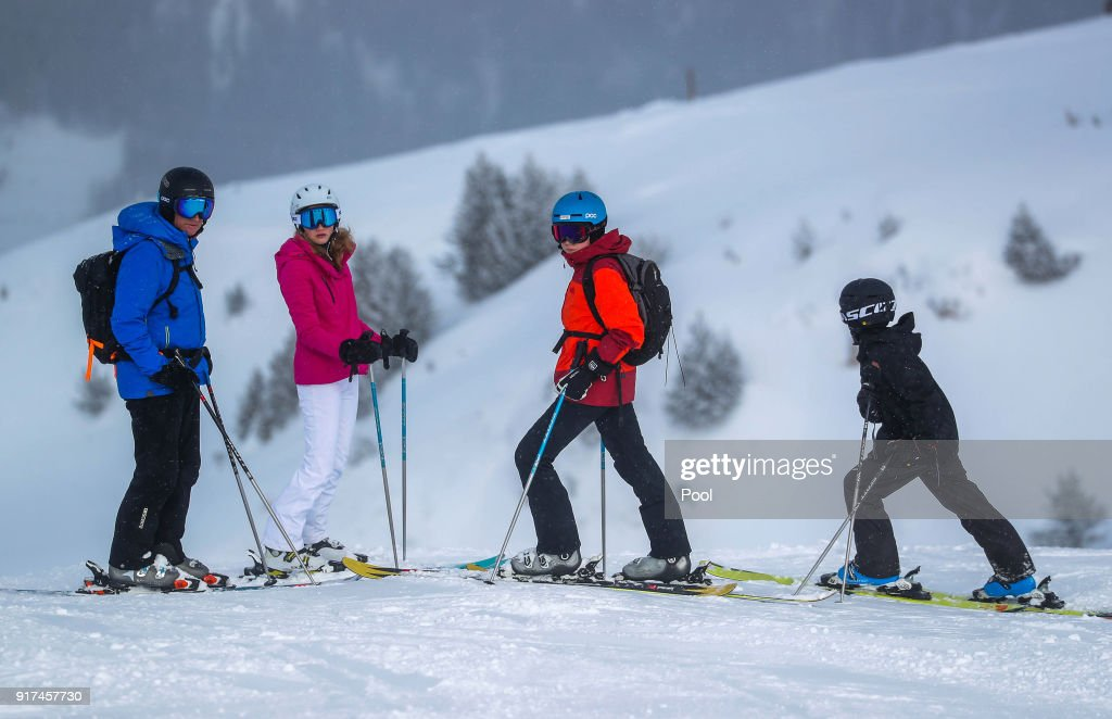 King Philippe of Belgium, Princess Elisabeth, Prince Gabriel and Prince Emmanuel during their ski holidays on February 12, 2018 in Verbier, Switzerland.