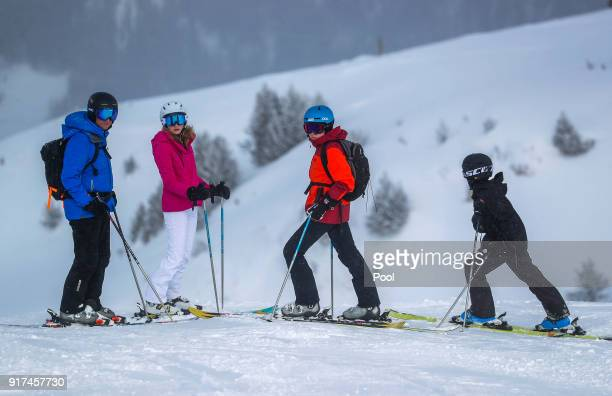 King Philippe of Belgium Princess Elisabeth Prince Gabriel and Prince Emmanuel during their ski holidays on February 12 2018 in Verbier Switzerland