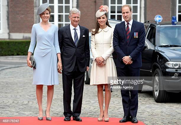 King Philippe of Belgium Queen Mathilda Duke of Cambridge Prince William and Duchess of Cambridge Catherine pose during the WW1 100 Years...