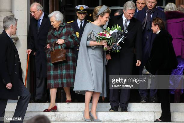 King Philippe of Belgium Queen Mathilde King Albert II and Queen Paola attend the Annual Memorial Mass for deceased members of the Royal Family at...