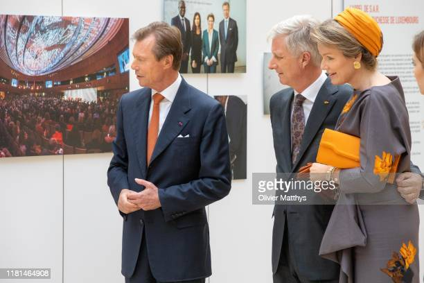 King Philippe of Belgium Queen Mathilde of Belgium and Grand Duke Henri of Luxembourg visit the Image Factory exhibition at the Neumuenster Castle on...