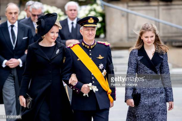 King Philippe of Belgium Queen Mathilde of Belgium and Princess Elisabeth of Belgium attend the funeral of Grand Duke Jean on May 04 2019 in...
