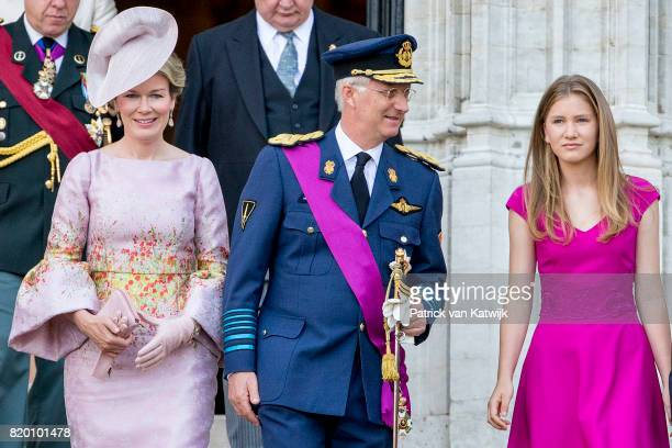 King Philippe of Belgium Queen Mathilde of Belgium and Princess Elisabeth of Belgium attend the Te Deum mass on the occasion of the Belgian National...