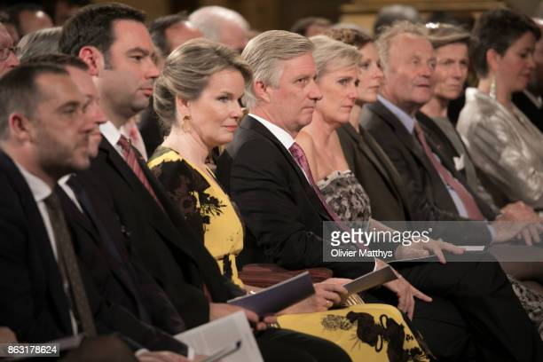 King Philippe of Belgium Queen Mathilde of Belgium and Princess Astrid of Belgium attend a concert to honor young talents in the Royal Palace on...