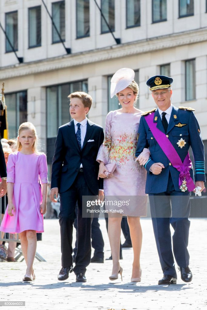 King Philippe of Belgium, Queen Mathilde of Belgium, Prince Gabriel of Belgium and Princess Eleonore of Belgium attend the Te Deum mass on the occasion of the Belgian National Day in the Cathedral on July 21, 2017 in Brussels, Belgium.