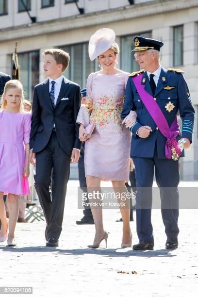 King Philippe of Belgium Queen Mathilde of Belgium Prince Gabriel of Belgium and Princess Eleonore of Belgium attend the Te Deum mass on the occasion...