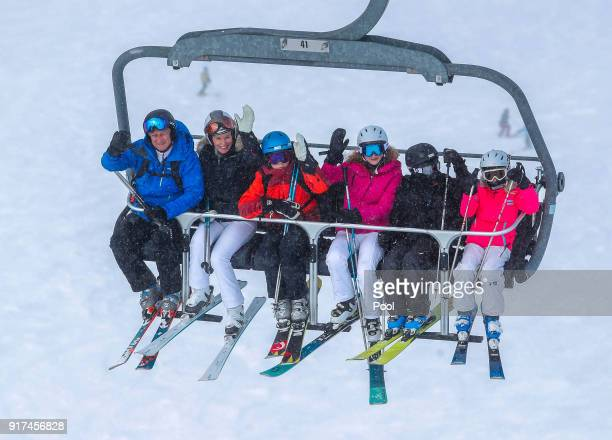 King Philippe of Belgium Queen Mathilde of Belgium Prince Gabriel Princess Elisabeth Prince Emmanuel and Princess Eleonore wave from a ski lift...