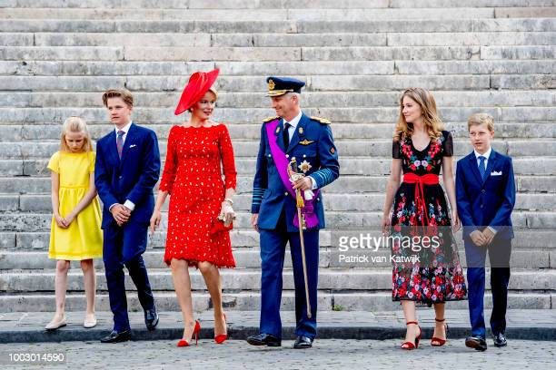 King Philippe of Belgium Queen Mathilde of Belgium Princess Elisabeth of Belgium Prince Gabriel of Belgium Prince Emmanuel of Belgium and Princess...