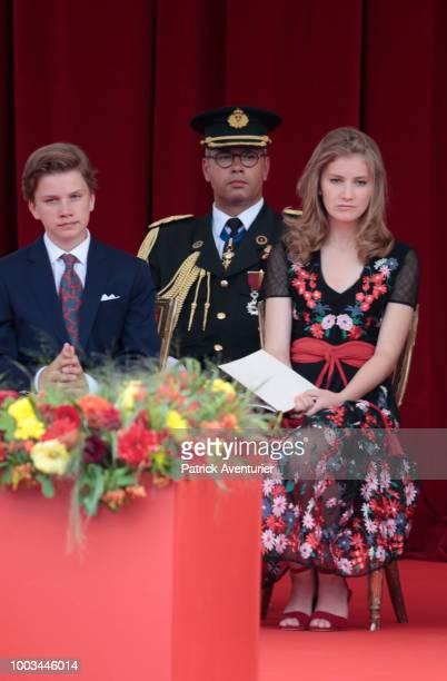 King Philippe of Belgium Queen Mathilde of Belgium Princess Elisabeth Prince Gabriel of Belgium Prince Emmanuel of Belgium and Princess Eleonore of...