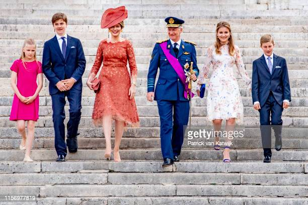 King Philippe of Belgium, Queen Mathilde of Belgium, Princess Elisabeth of Belgium, Prince Gabriel of Belgium, Prince Emmanuel of Belgium and...