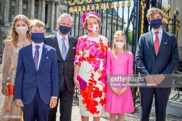 King Philippe of Belgium, Queen Mathilde of Belgium, Princess Elisabeth of Belgium, Prince Gabriel of Belgium, Princess Emmanuel of Belgium and...